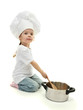 little girl doctor in chef's hat with pan and spoon, isolated
