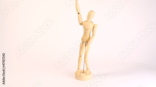 Dummy of person move hands and feet on white background