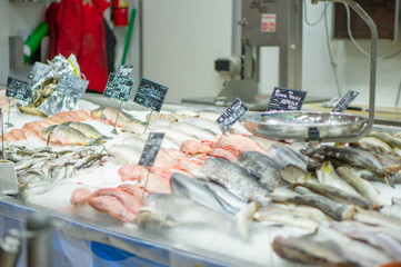 Bunch of sea fish of different kinds on ice table with scales in