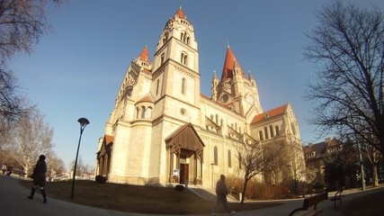 Franz von Assizi Church in Vienna stands against background of