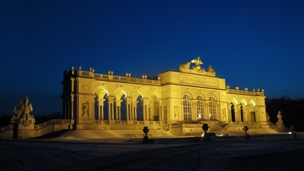 Glorietta in park of Shyonbrunnsky palace is shone in light of