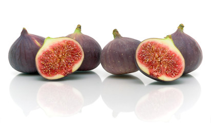 ripe figs on a white background close-up