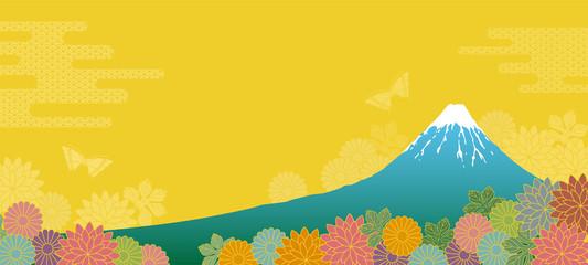 富士山と菊の背景 eps10