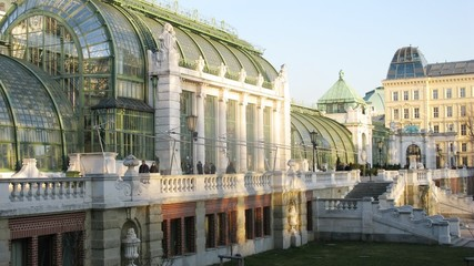 Palmenhaus stands in Hofburg Palace park