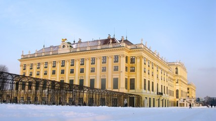 Tourists go sightseeing Shonbrunn palace
