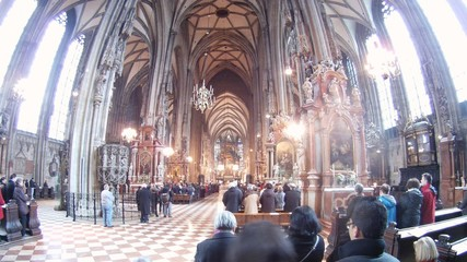 Mass is spent to churches Stephansdom