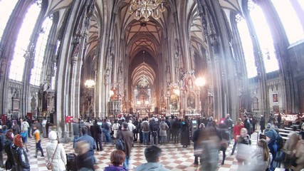 Tourists are photographed in church Stephansdom