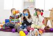 Leinwanddruck Bild - Kids playing in the room