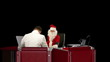 Santa Claus is healthy, Doctor measuring blood pressure