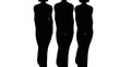 Silhouettes of three women-models of black colors go on white