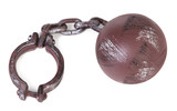 ball and chain over white