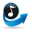 note de musique sur bouton flêche bleue