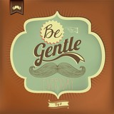 Vintage Mustache Calligraphic And Typographic Background poster