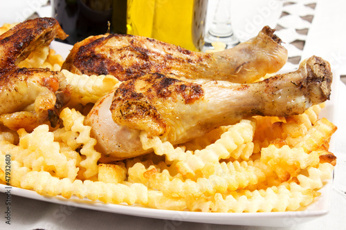 baked chicken with french fries