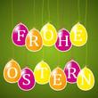 Frohe Ostern mit grünem Hintergrund
