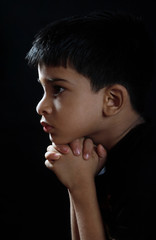 Portrait of Indian Boy Praying