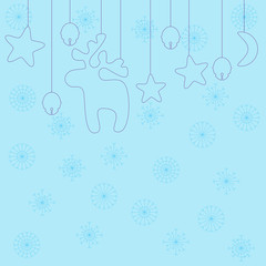 Light-blue Christmas background decorated with violet hanging re