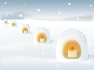 かまくらキャンドルと雪