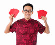 Asian Chinese man holding red packet