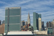 NEW YORK  view from river with United Nation and chrysler  tower