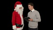 Santa Claus and Young Businessman against black
