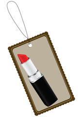 label with cosmetic lipstick