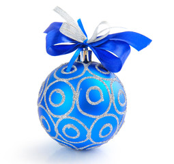 Christmas blue ball on white background