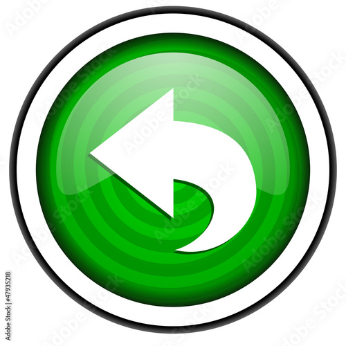 back green glossy icon isolated on white background