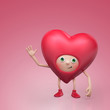 funny red Valentine cartoon heart character
