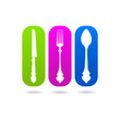 Kitchen set fork knife spoon logo