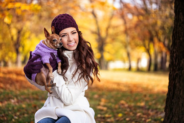 happy woman with her dog
