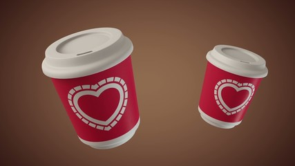 Bouncing coffee cups with Hearts