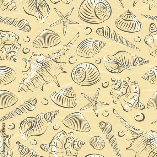 Seamless pattern with different sea shells