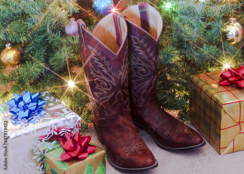 A Pair of Red Christmas Cowboy Boots