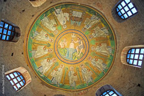 Ravenna, 6 Century Ceiling Mosaic of the Arian Baptistry