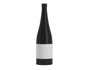 Weinflasche schwarz mit Etikett schmal