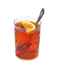 tea glass with a lemon