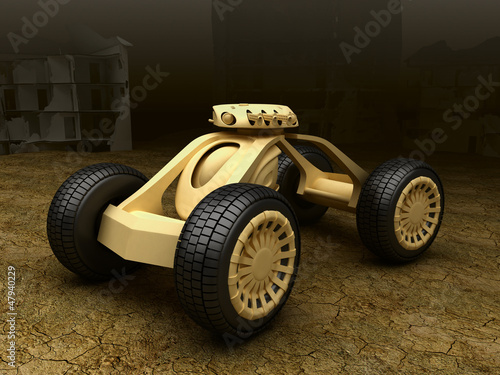 Military droid car with heavy gun