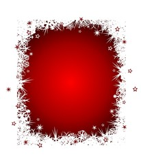 Red snow-covered Christmas background