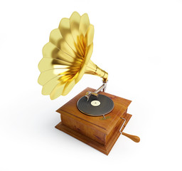 gramophone on a white background