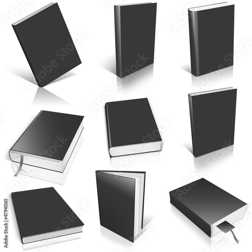 Nine black empty book template