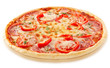 Salami pizza with tomatoes and red pepper