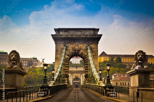 Chain Bridge over the River Danube in Budapest, Hungary