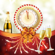 Christmas card, gifts with champagne glasses and bottle