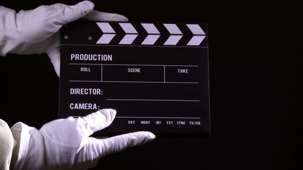 Clapperboard, clapper, take 1
