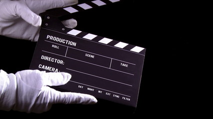 Clapperboard, clapper, 2 clips sequence