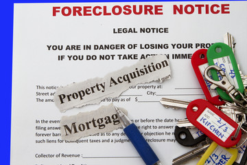 Foreclosed notice on a loan mortgage