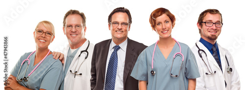 Group of Doctors or Nurses and Businessman on White
