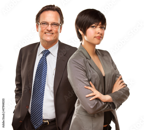 Attractive Businesswoman and Businessman on White