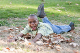 Young African American Boy Playing in the Park